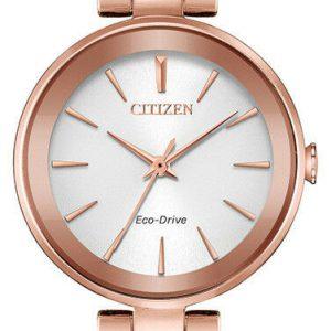 Citizen Eco-Drive Axiom Women's Rose Gold-Tone Bracelet 28mm Watch EM0633-53A