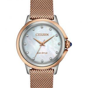 Citizen Ceci Eco-Drive EM0796-75D Rose Gold White MOP Diamond Dial Womens Watch