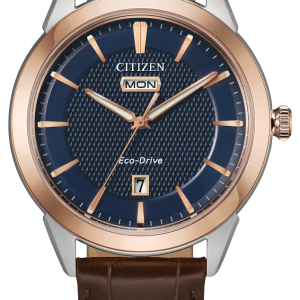 Citizen Corso Men's Navy Dial Brown Leather Band Watch AW0096-06L