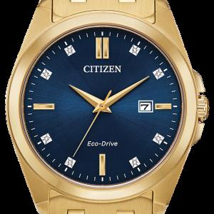 Citizen Eco Drive Men's Corso Blue Dial Gold Tone Watch BM7103-51L