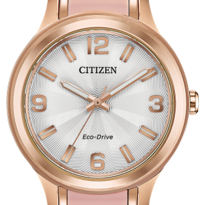 Citizen Eco-Drive AR Ladies Rose Gold Case White Dial Band 36mm Watch FE7073-54A