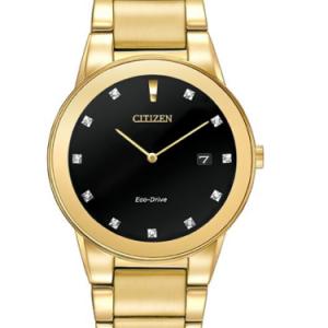CITIZEN Axiom Black Dial Gold-tone Diamond Men's Watch Item No. AU1062-56G
