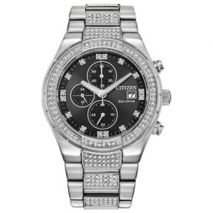 Citizen Eco-Drive Crystal Stainless Steel Black Dial Men's Watch CA0750-53E