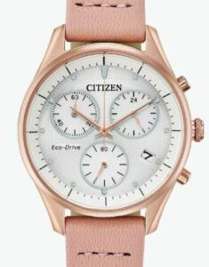 Citizen Eco-Drive Women's Chandler Chronograph Pink Strap 32mm Watch FB1443-08A