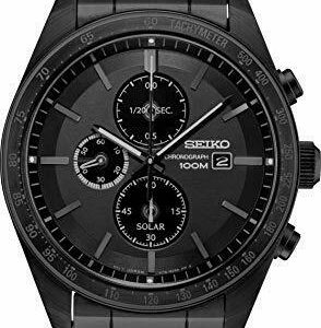 Seiko Solar Chronograph Quartz Black Dial Men's Watch SSC721