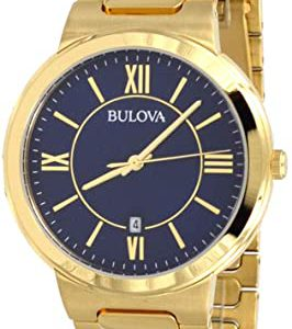 Bulova Men's Gold Tone Stainless Steel Casual Blue Dial Dress Watch 97B199