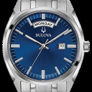 Bulova Men's Quartz Day-Date Calendar Deep Blue Dial 39mm Watch 96C125