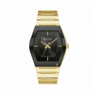 New Bulova Futuro Stainless Steel Black Dial Gold Tone Men's Watch 97A164