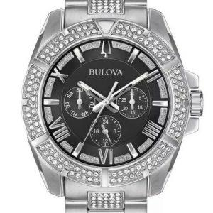 Bulova Men's Watch Black Dial Silver Stainless Steel Swarovski Crystal-96C126