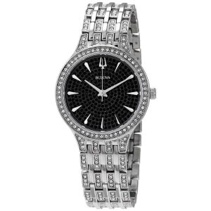 Bulova Phantom Black Dial Stainless Steel Bracelet Women's Watch 96L273