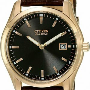 Citizen Men's Black Dial Rose Gold Tone Leather Band Eco-Drive Watch AU1043-00E