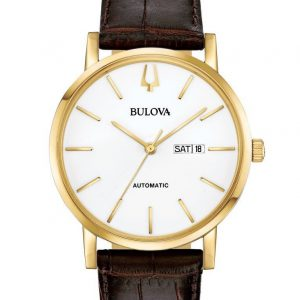 Bulova Mens Classic Gold Tone Automatic Brown Leather Watch 97C107