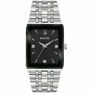New Bulova Quadra Black Dial Stainless Steel Men's Watch 96D145