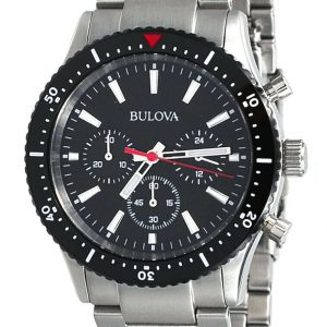 Bulova  Men's Stainless Steel Black Dial Chronograph Sports Watch 98A268