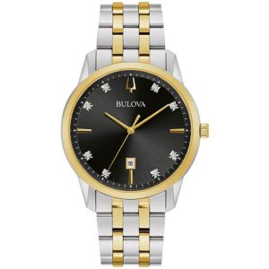 New Bulova Sutton Black Dial Two-Tone Stainless Steel Men's Watch 98D165