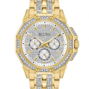 New Bulova Crystal Silver Dial Yellow Gold Tone Stainless Men's Watch 98C126