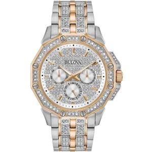 New Bulova Crystal Pave Dial Two-Tone Stainless Steel Men's Watch 98C133