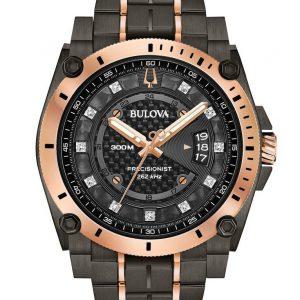BULOVA Precisionist Diamond Black Dial Men's Watch 98D149