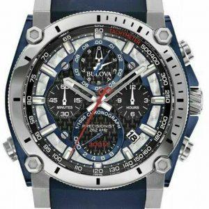 New Bulova Precisionist Chronograph Black Dial Rubber Band Men's Watch 98B315