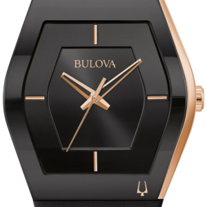 Bulova Men's Latin GRAMMY® Black Dial Black Silicone Watch 97A163