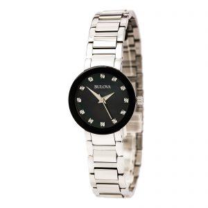 New Bulova Futuro Black Mother Of Pearl Women's Watch 96P172