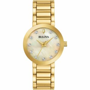 New Bulova Mother of Pearl Diamond Dial Gold Tone Women's Watch 97P133
