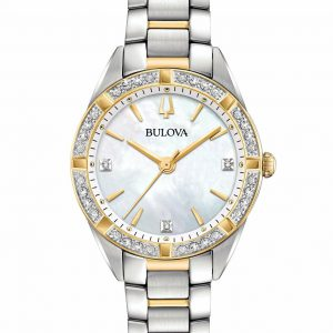 Bulova Women's Sutton White Crystal Bezel Two Tone Band Watch 98R263