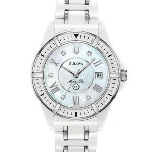 Bulova Women's White Ceramic Stainless Steel Case Mother of Pearl Watch 98P172