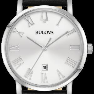 Bulova Mens American Clipper Classic Leather Band Watch 96B312, Silver Dial