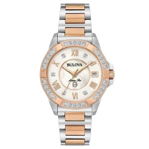 Bulova Marine Star Diamonds 98R234 White Mother of Pearl/Silver Rose Gold Steel