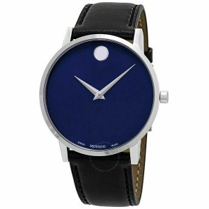 Movado Swiss Mens Museum Blue Dial Classic Stainless Slim Watch 0607270