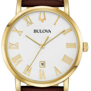 Bulova 97B183 Gold Tone White Dial Brown Leather Band Mens Classic Watch