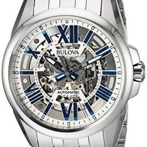 Bulova Sutton Automatic Silver-Tone Skeleton Dial Men's Watch 96A187