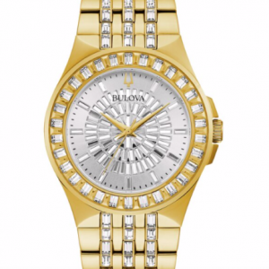 Bulova Men's Phantom Swarovski Gold Case & Bracelet Watch 98A239