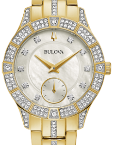 ulova Women's Crystal Accent Gold-Tone with Mother Watch 98L283