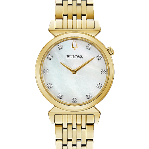 Bulova Women's Regatta Diamond Dial Gold Tone Stainless Steel Watch 97P149