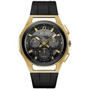 New Bulova Curv Chronograph Black Dial Black Leather Strap Men's Watch 97A143