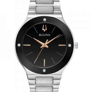 Bulova Millennia Silver Tone Stainless Steel Black Dial Men's Watch 96E117