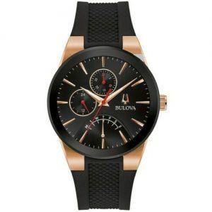 New Bulova Futuro Black Dial Black Silicone Strap Men's Watch 97C111
