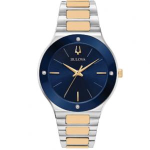 New Bulova Futuro Blue Dial Two Tone Stainless Steel Men's Watch 98E117