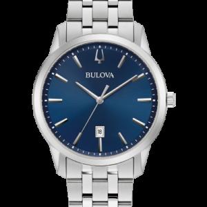 Bulova Sutton Blue Dial Stainless Steel Watch 96B338