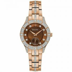 New Bulova Pantom Crystal Stainless Steel Brown Dial Women's Watch 98L284
