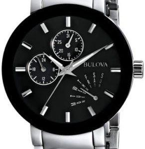 Bulova Men's Quartz Black Multi Dial Silver-Tone Bracelet 40mm Watch 96C105