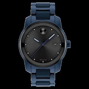 Brand New Movado Bold Verso Blue Ceramic Bracelet Watch 3600728