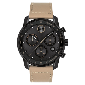 Brand New Movado Bold Verso 44mm Chronograph Leather Strap Watch 3600738