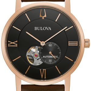 Brand New Bulova American Clipper Automatic Black Face Brown Leather Strap watch 97A155
