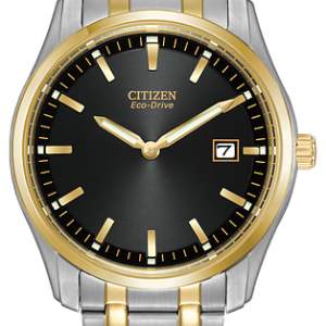 Brand New Citizen Eco Drive Black Dial 2 Tone Men's Watch AU1044-58E