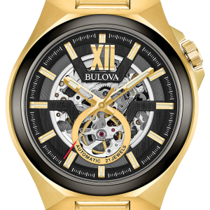 Brand New Bulova Maquina Automatic Gold Tone Skeleton Dial Men's Watch 98A178
