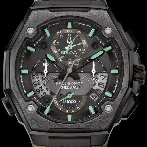NEW Bulova Precisionist X Special Chrono Green Leather Watch 98B355