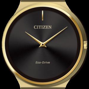 Brand New Citizen Eco Drive Stiletto Gold Tone Black Face Watch AR3112-57E